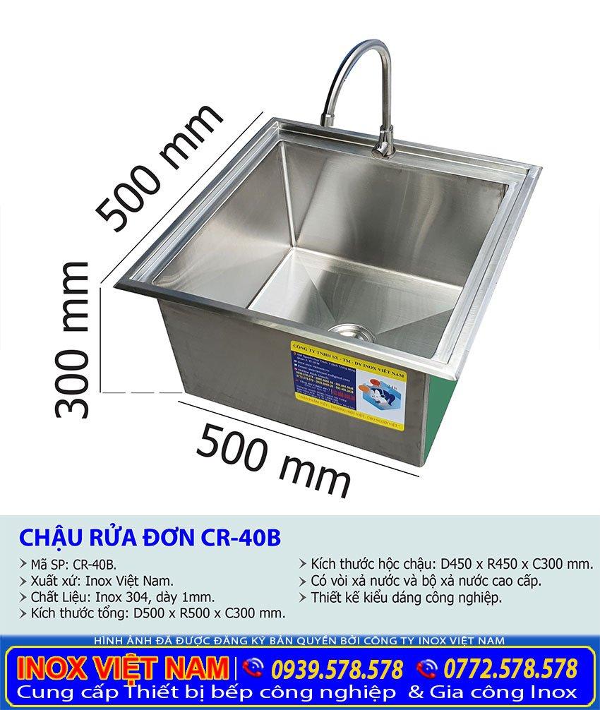 Kích thước chậu rửa âm bàn CR-40B