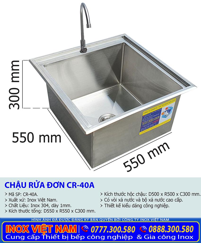 Kích thước chậu rửa đơn âm bàn CR-40A