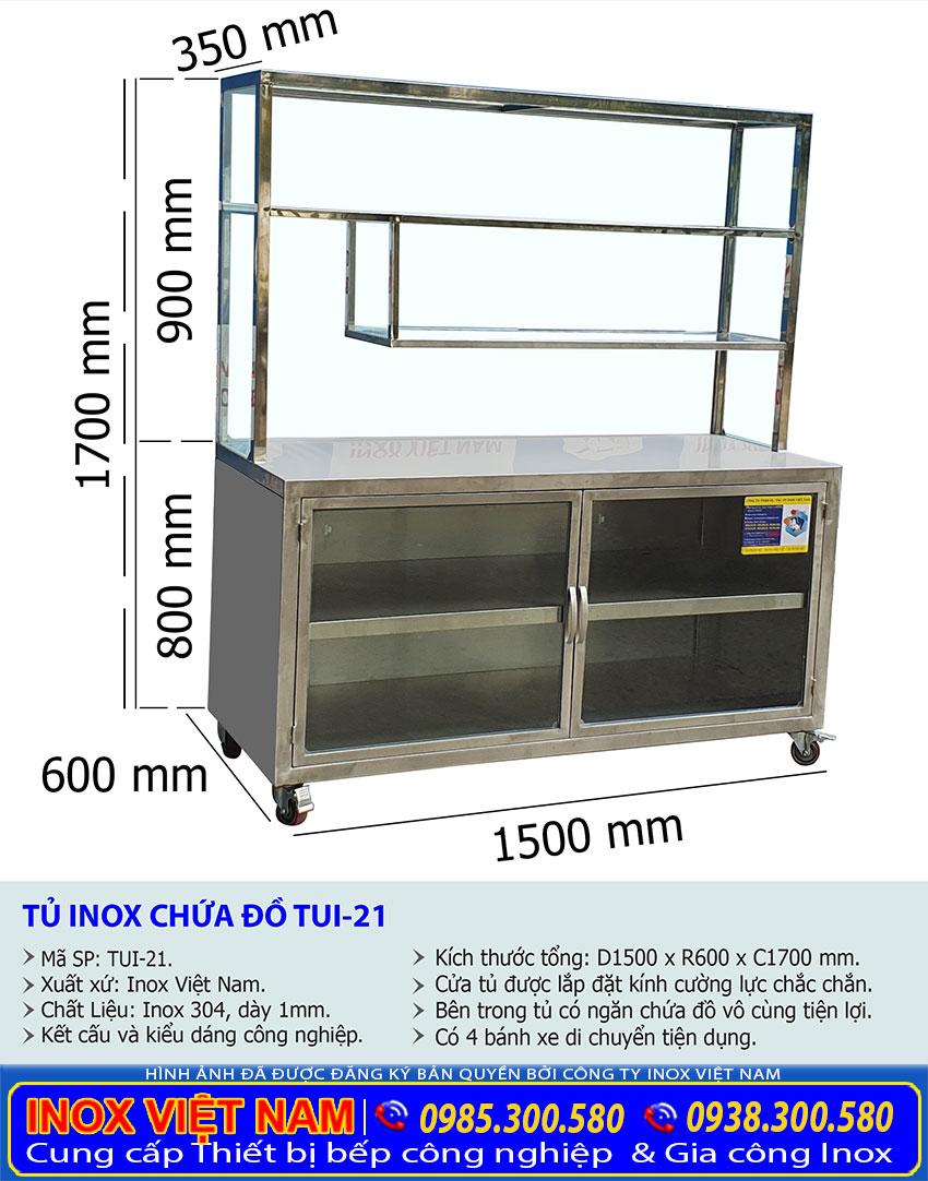 Kích thước tủ inox nhà bếp TUI-21