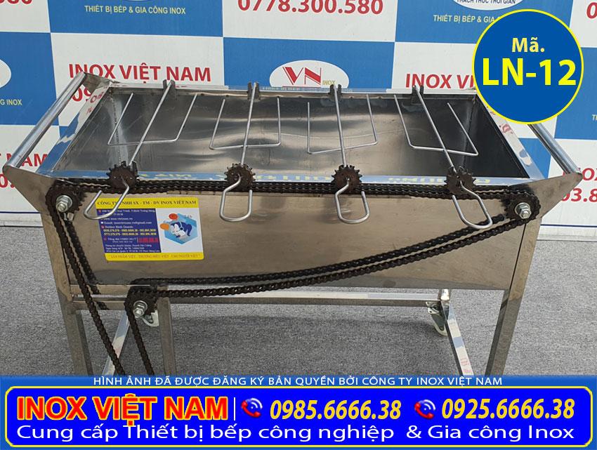 Lò nướng inox 4 xiên tự động quay LN-12