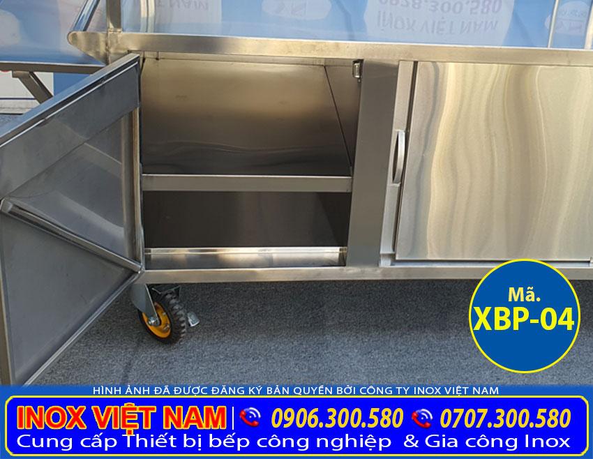 Ngăn tủ của xe bán phở inox XBP-04