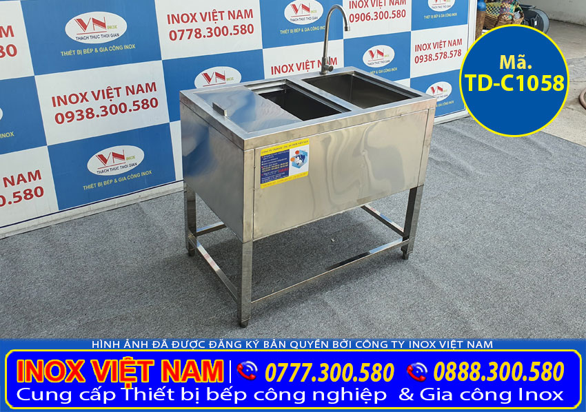 Thùng đá inox khung chân có bồn rửa TD-C1058 (02)