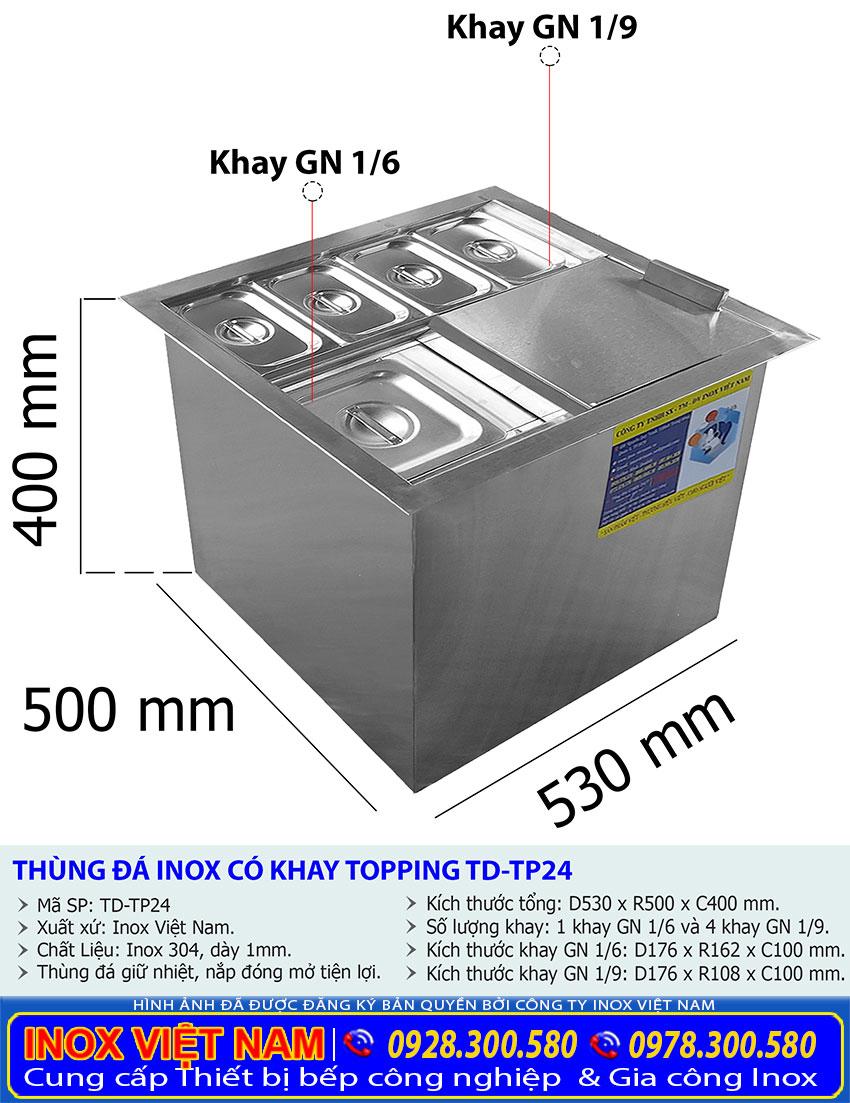 Tỷ lệ kích thước thùng chứa đá inox có khay topping TD-TP24