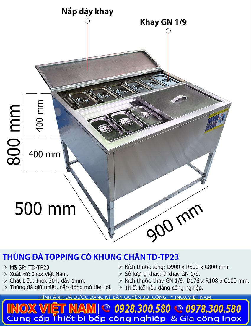 Tỷ lệ kích thước thùng chứa đá inox topping có khung chân TD-TP23