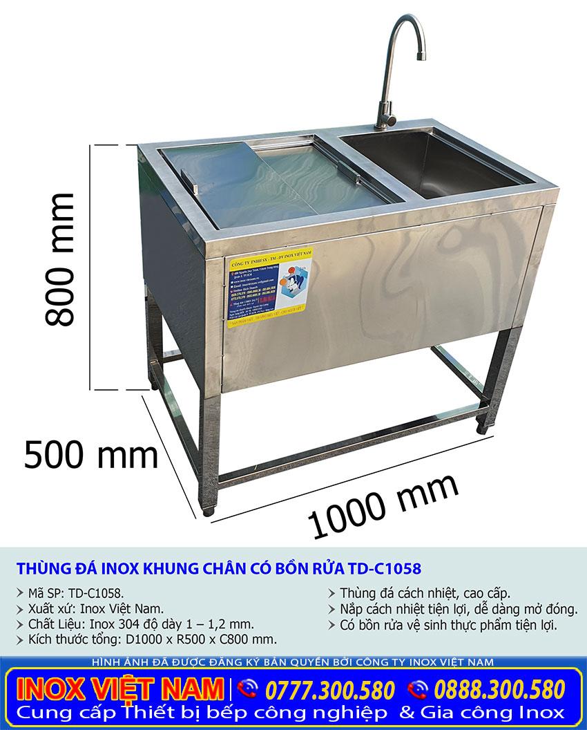 Tỷ lệ kích thước thùng đá inox inox khung chân có bồn rửa TD-C1058