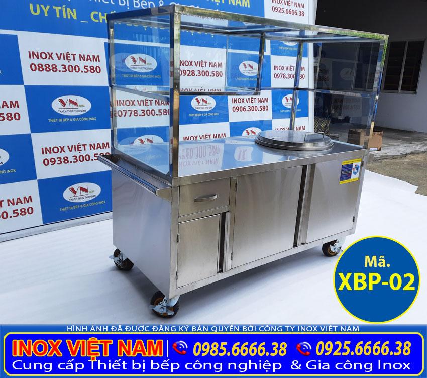 Xe bán phở inox, tích hợp nồi nấu nước lèo bằng điện 60 lít xbp-02