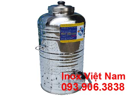 Bình đựng nước inox 304 1 lớp không cách nhiệt 50 lít có vòi gạt