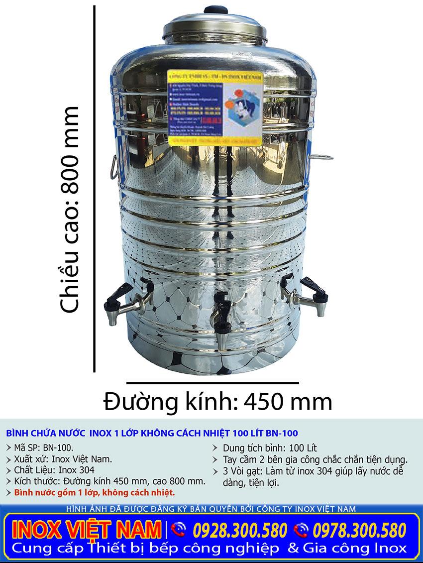 Kích thước bình đựng nước 100 lít inox 304 có 3 vòi gạt