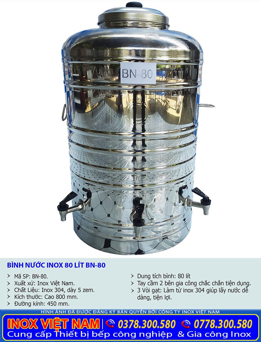 Thông số bình đựng nước inox có 3 vòi nước 80 lít