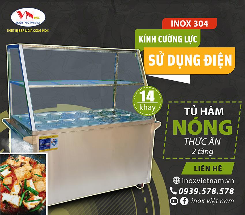 Tủ giữ nóng thức ăn 14 khay sử dụng điện có kính cường lực
